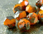 Pickled Persimmon (10) -Czech Glass Central Cut Rounds 9mm