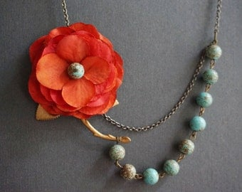 Statement Necklace,Turquoise Necklace,Boho Necklace,Red Orange Flower Necklace,Turquoise Jewelry,Bridesmaid Jewelry Set,Bridesmaid Gift,Gift
