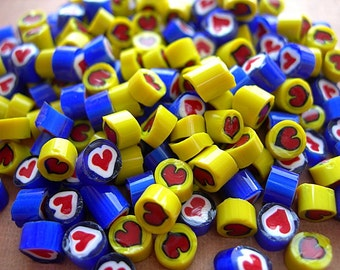 HEARTS Vintage Millefiori Glass Cane Slices 5-6mm for Lampworking lot of 12 pieces Yellow and Blue