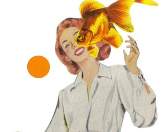 Goldfish Art Mixed Media Original Collage Wall Art Fish Wall Art Whimsical Fish Bathroom Art