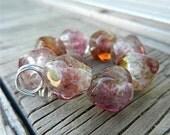 SRA HANDMADE LAMPWORK Glass Bead Set Donna Millard Cranberry Wine Pink autumn fall rose gold amber