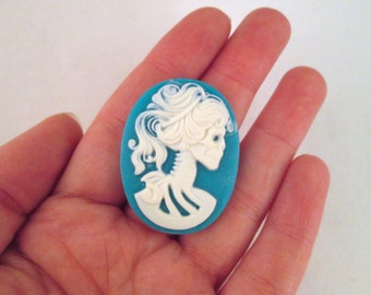 30x40mm Blue Skeleton Cameos, Lolita Day Of The Dead, pick your amount