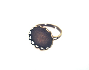 14mm Brass Bezel Ring Adjustable, Pick Your Amount, A198
