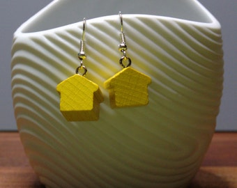 Wooden house earrings with silver plated earwires