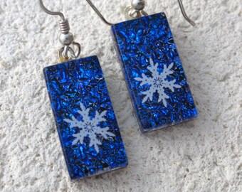 Snowflake Earrings, Dangle Drop Earrings, Cobalt Blue Earrings, Dichroic Glass Jewelry, Fused Glass Jewelry, Sterling Silver, 091816e104