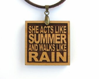 TRAIN - She Acts Like Summer And Walks Like Rain - Drops of Jupiter - Boho Gypsy Wood Lyric Necklace