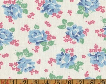 Vintage Feedsack Fabric - Blue Roses & Pink Forget-Me-Nots - Flour Sack Quilting Cotton 1940s 1930s