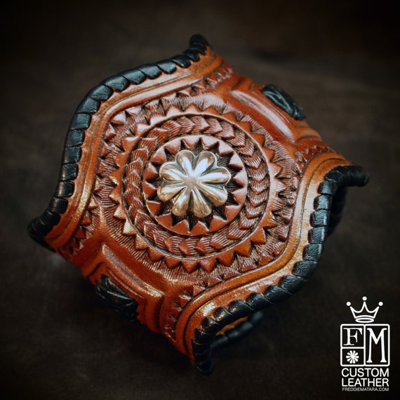 Leather Cuff Bracelet, tooled, braided formed with copper conchos!  made for YOU in NYC by Freddie Matara