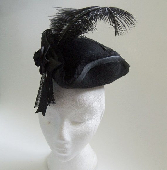 Lace, Rose and Feather MINIATURE TRICORNE HAT