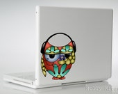 Owl Vinyl Decal Headphones Small Sticker Laptop MacBook Wall Window Car Waterproof Bird Flower Art Bumper Outdoor Colorful Cute Decoration