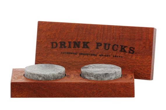 DrinkPucks (×2) in wooden case, whisky rocks, whiskey stones that work!