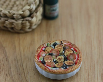Baked Eggplant and Tomato Frittata - 1:12 Dollhouse Miniature Food