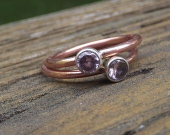 Rare Pink Kunzite stack Ring Size 7.75 and Size 8 - Mix and Match Stack Rings Collection