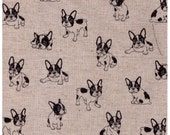 HALF YARD - French Bulldogs - Natural - 80/20 Cotton/Linen Blend - Japanese Import