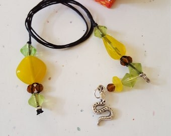 Snake Beaded Bookmark/ Green, Yellow, And Brown Glass Beaded Cord With Metal Serpent Charm/ Readers Gift/ Book Thong/ Book Lover/ Bookworms