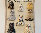 Vintage Buttons - Cat Buttons, set of 8 on card, Ceramic