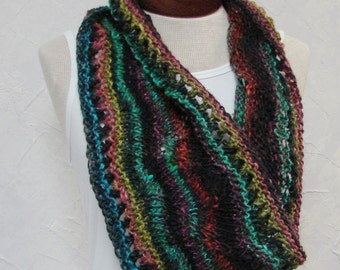 Cowl, Hand knit wool silk yarn black teal green pink gold cowl scarf neck warmer wrap cowl