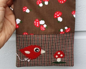 Zippered pouch purse toadstools brown wool with a needle felted mushroom toadstool birdie bird