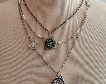 Multi Strand Silver Chain Necklace with Floral Pendant and Clock Button