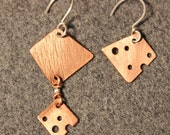 Asymmetric Copper Dangle Earrings