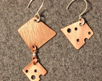 Asymmetric Copper Dangle Earrings