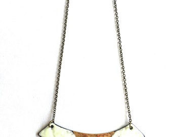 Cream and Chartreuse Enamel Necklace