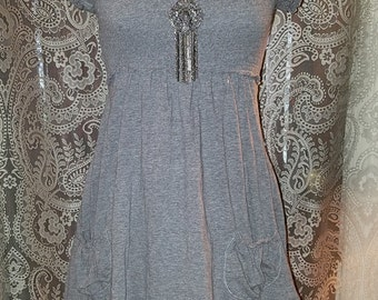 Gray Puffed Sleeve Top Mini Dress XS Small Rave Grunge Goth