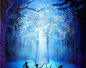 Tree of Light - Tree of Life Watercolor Painting - Dancing Witches - Blue Wall Decor