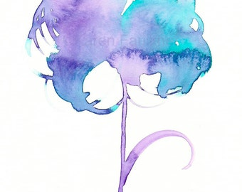 "Watercolor flower art print of lavender and aqua flower: ""Innocence"""