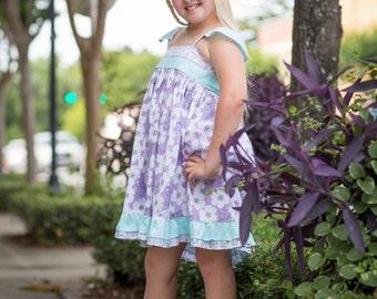 Girls Lavender Dress- Lavender Dress- Summer Dress- Girls Summer Flower Dress- Girls Teal Dress- Girls Ruffle Dress- Teal Dress-Flower Dress