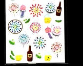 Cute Japanese Stickers Summer Theme Beer Fireworks Wind Chimes Chiyogami Paper Stickers (S237)