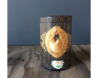 Wooden Tea Box with Crane Pattern
