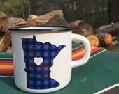 Camping Mug Minnesota Flannel  - Enamel Camp Mug Minnesota Flannel Love - Enamelware Minnesota Coffee Mug - Backpacking Mug by Oh Geez Desig