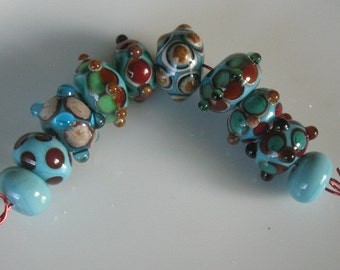 Lampwork beads-handmade glass beads-beading supplies-bead sets-multi color beads-glass bead set-SRA
