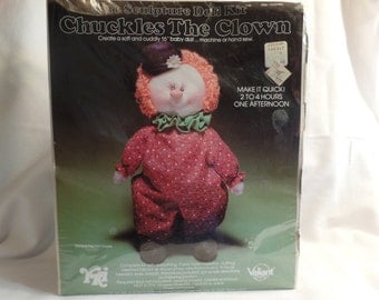 Chuckles the CLOWN Valiant YKI craft kit soft sculpture 16' baby doll vintage made in USA