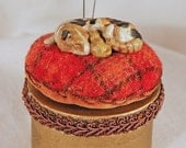 Ceramic Kitty Pincushion Box- raspberry plaid