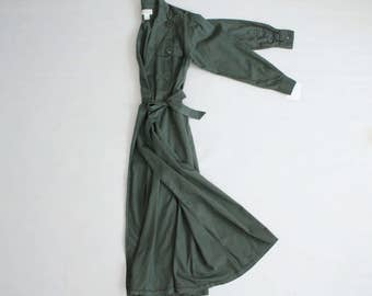 trench dress | green military dress | wrap dress