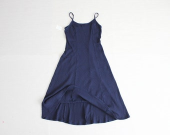 ribbed dress / stretch dress / navy blue sundress