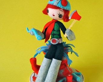 Print: She Makes Mincemeat Out of Her Enemies - Kamen-Rider needlefelting sculpture toy felt plush photo wall decor art kaiju Japan doll