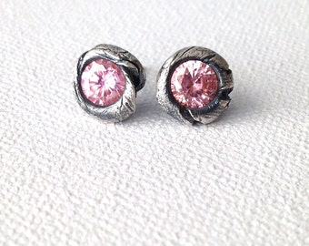 Rustic Stud Pink Sapphire Earrings Made to Order