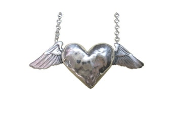 Heart Necklace    wing silver gold pendant charm winged necklace
