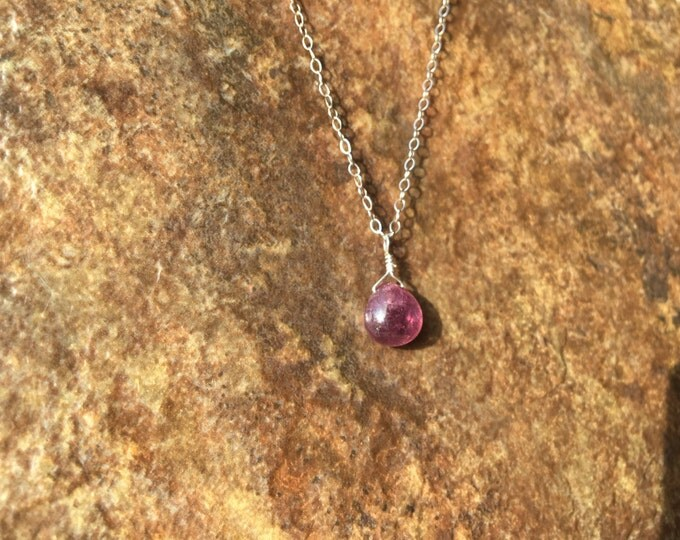 Smooth Pink Rose Sapphire Necklace in Sterling Silver