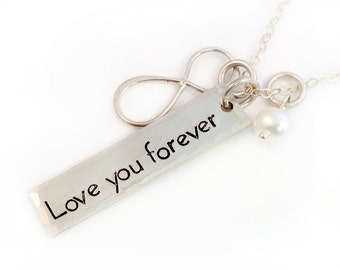 Love You Forever Mother's Necklace, Infinity Necklace, Handstamped Sterling Silver, Customized, Infinity Sign