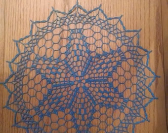 "New Handmade Crocheted ""Royal Star Doily"" in Blue Hawaii - 14"""