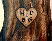 Custom Tree Painting featuring Carved Lovers Initials...Commission art for Valentine's Day