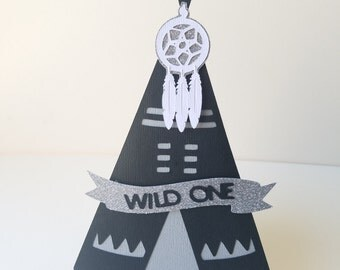 Teepee Cake topper Pow Party -  3D personalized Name or Wild One//BOHO BRAVE ONE 1st Birthday//Birthday Dream catcher//Bohemian centerpiece