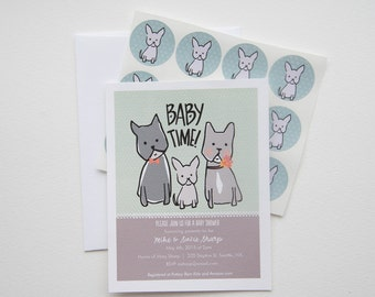 Baby Time French Bulldog Family Baby Shower Invitation Set with Stickers