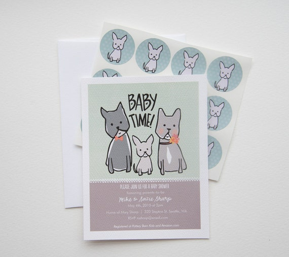 Family Baby Shower Invitations: Baby Time French Bulldog Family Baby Shower Invitation Set