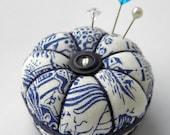 Miniature Pincushion, Willow Pattern