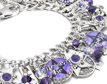 Wiccan Charm Bracelet, Wicca Jewelry, Wiccan Jewelry, Celtic Jewelry, Wicca Bracelet, Wicca Silver Charms
